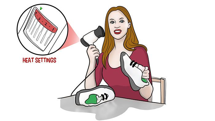 how to break in shoes using the blow dry method